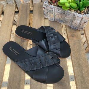 Sala Fifth Avenue Black Ruffle Slides Sandals Sz 9